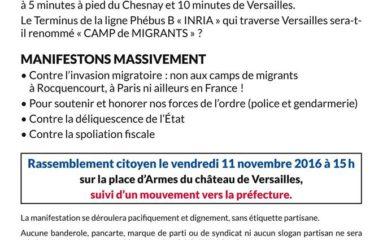 11 novembre, Versailles: manifestation d'opposition aux camps de migrants clandestins