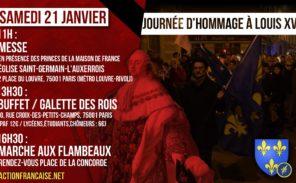 Samedi 21 janvier: hommage à Louis XVI