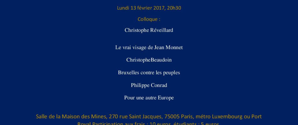 Colloque: le naufrage de l'Europe bruxelloise