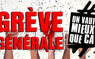 Nouvel appel à la grève générale le 16 novembre prochain