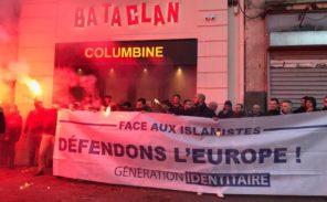 Malgré l'interdiction préfectorale, Génération Identitaire se rassemble devant le Bataclan pour dénoncer l'islamisation