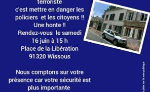 Wissous: une manifestation pour que les policiers retrouvent leurs armes