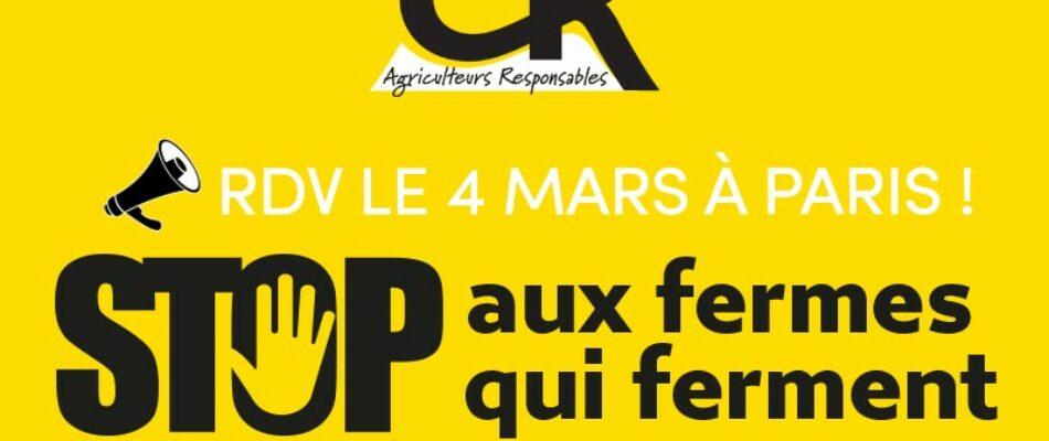 4 mars: mobilisation du monde agricole à Paris